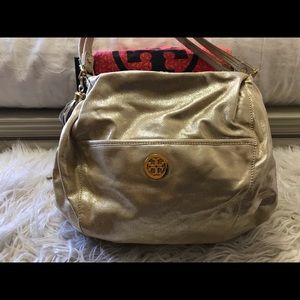 Tory Burch Brushed Metallic Gold Shoulder Bag